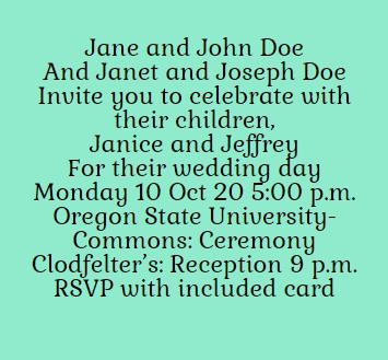 Example of wedding invitation