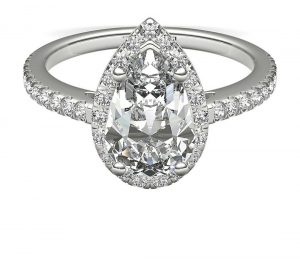 Pear shape engagement ring close up