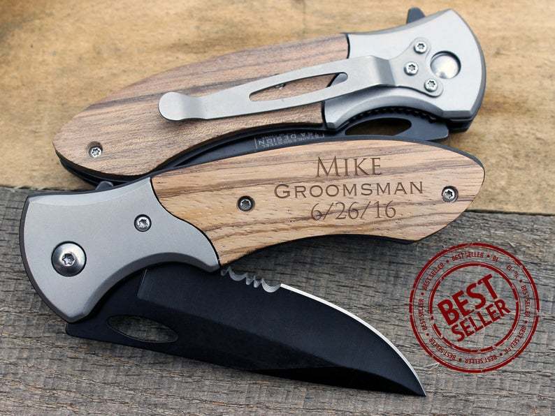 Pocket knife as groomsmen's gift