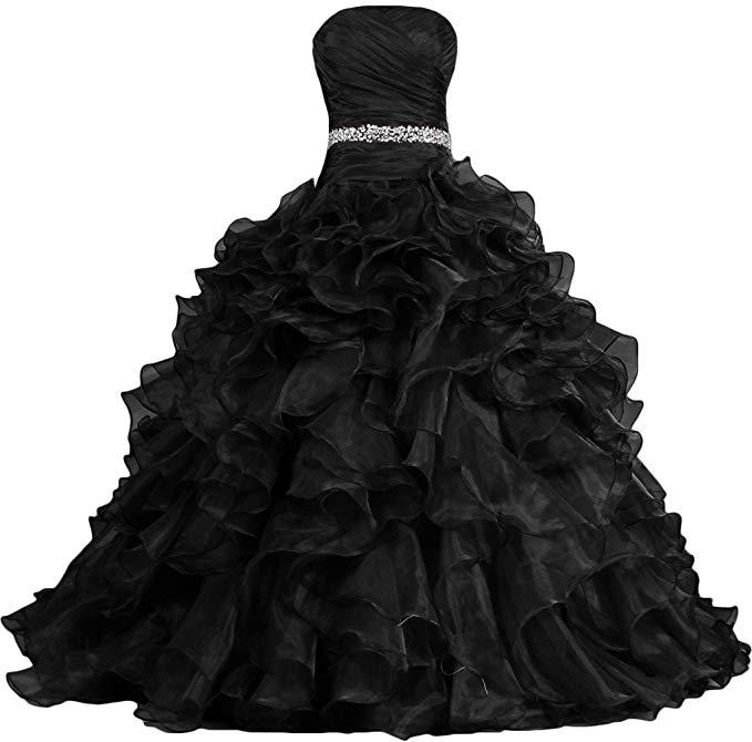 Princess ballgown style black wedding dress