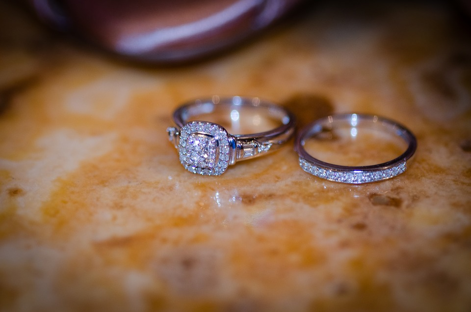 Cubic zirconia engagement ring close up