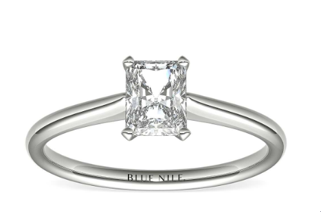 Simple radiant shape engagement ring in white gold