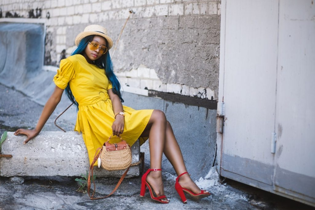 Red heels and yellow dress