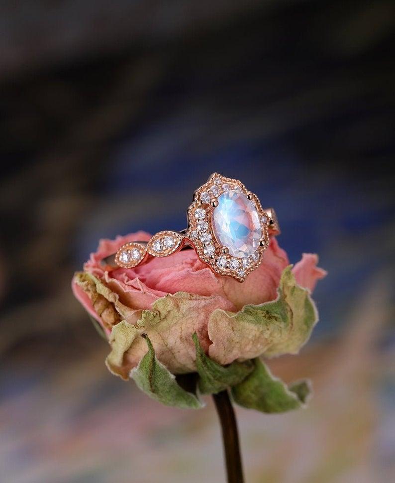 Rose cut moonstone vintage ring