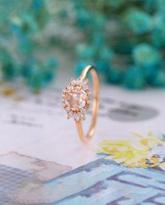 Rose cut rose gold ring