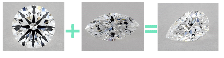 Round marquise equals pear shape diamond