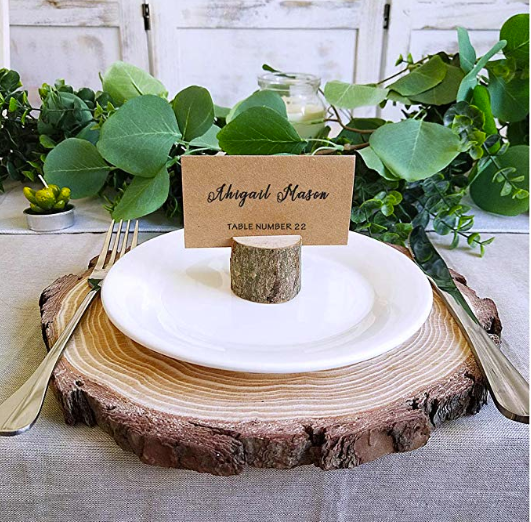 Rustic wooden card holder for guest table wedding day