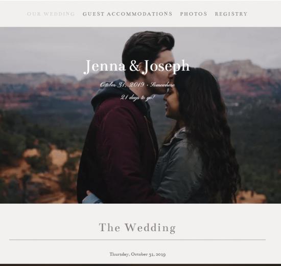 Wedding website sample