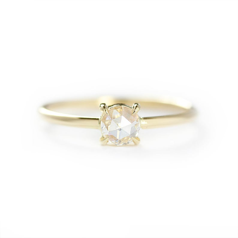 Beautiful solitaire rose cut engagement ring