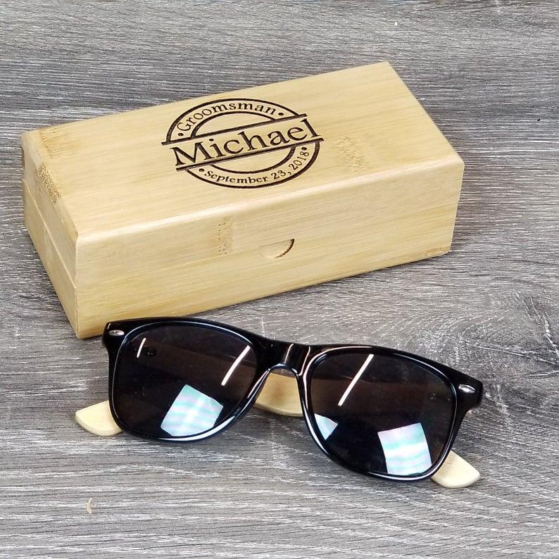 sunglasses and wooden case best gift for Groomsmen