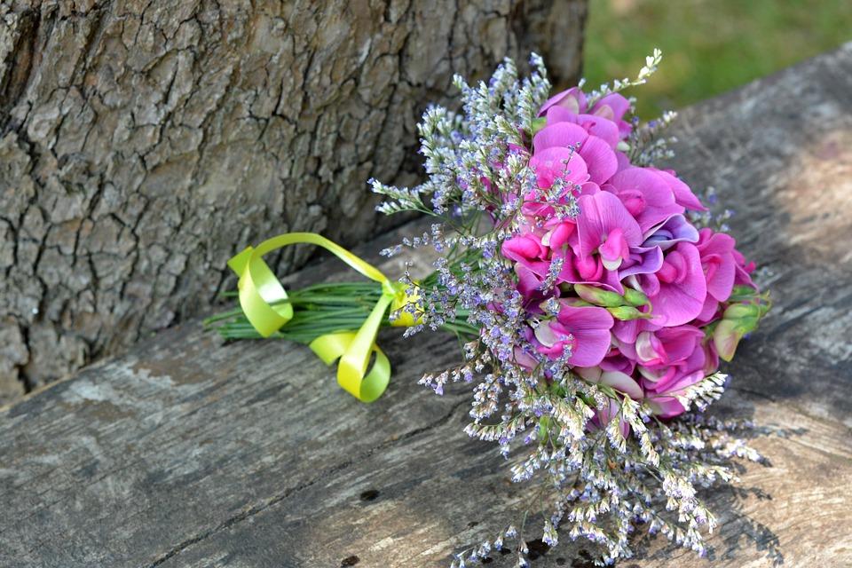 Sweet pea flower bouquet