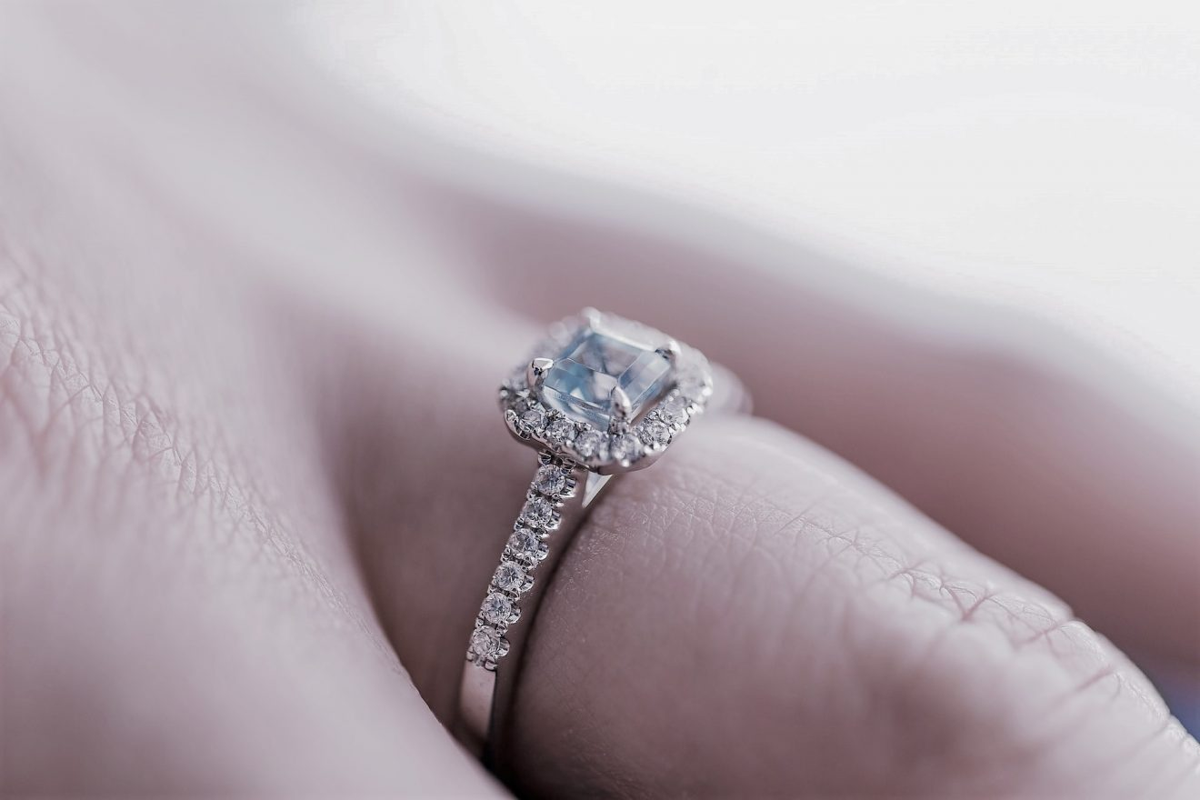 Table cut engagement ring