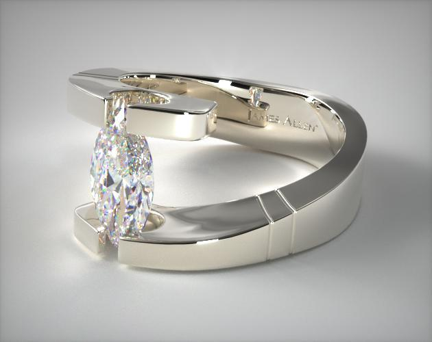 Tension-setting marquise shape diamond ring in white gold