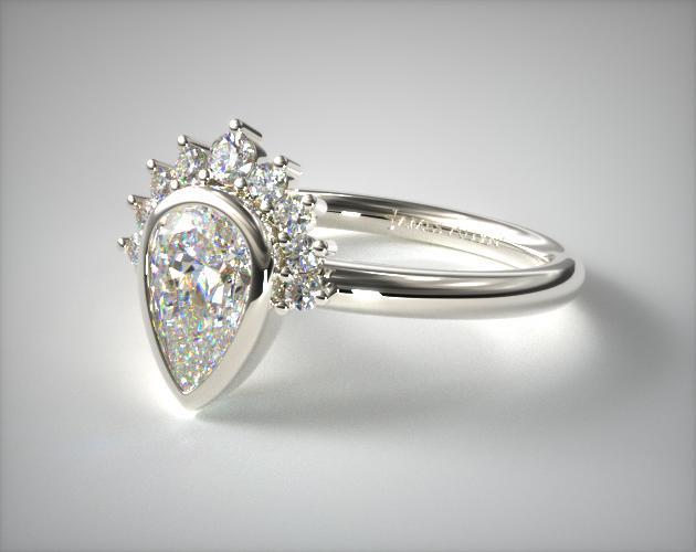 Tiara bezel pear shape engagement ring