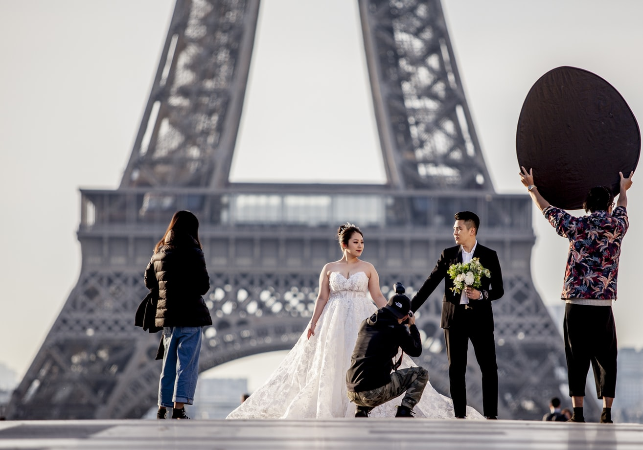 Photographer taking video of bride and groom
