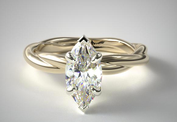 v-tipped solitaire marquise-diamond ring in yellow gold setting