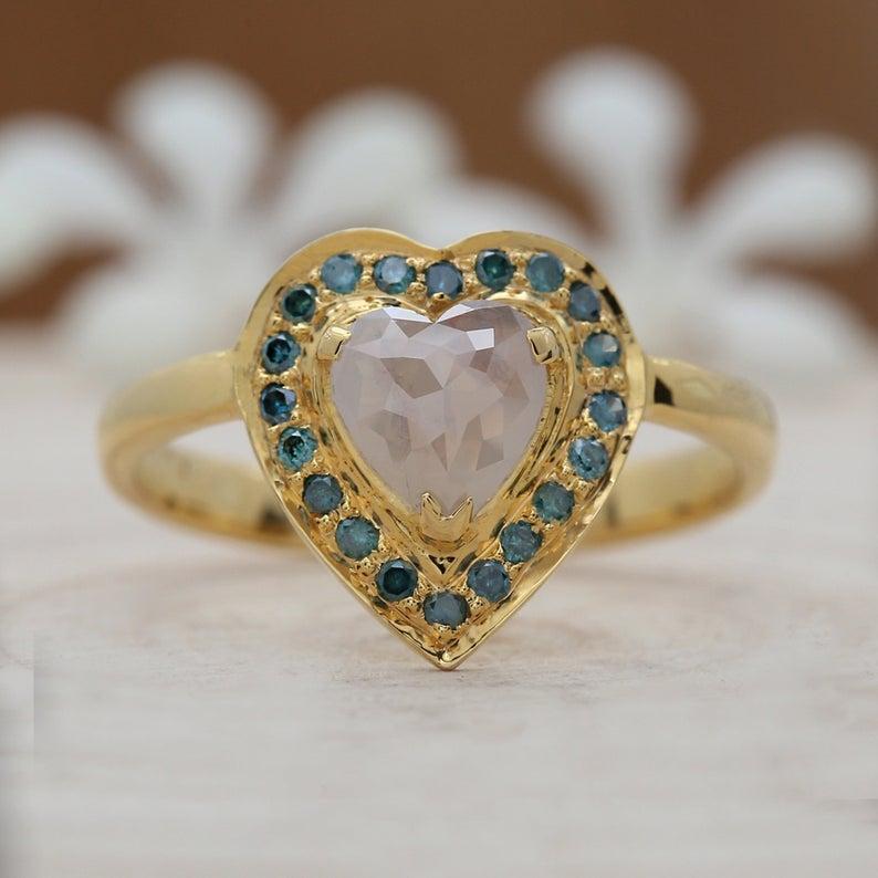 vintage inspired heart shape engagement-ring