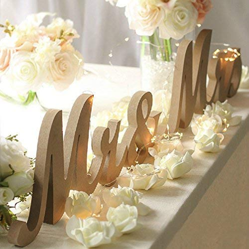 Vintage style wooden letters for wedding table