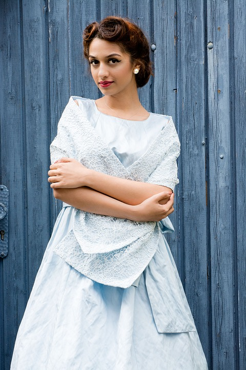 Bride wearing vintage wedding dress
