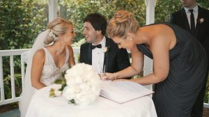 Couple with their wedding planner