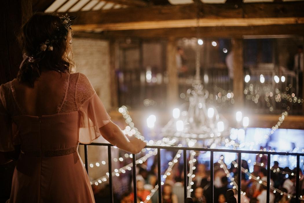 Bride in her wedding rehearsal dinner