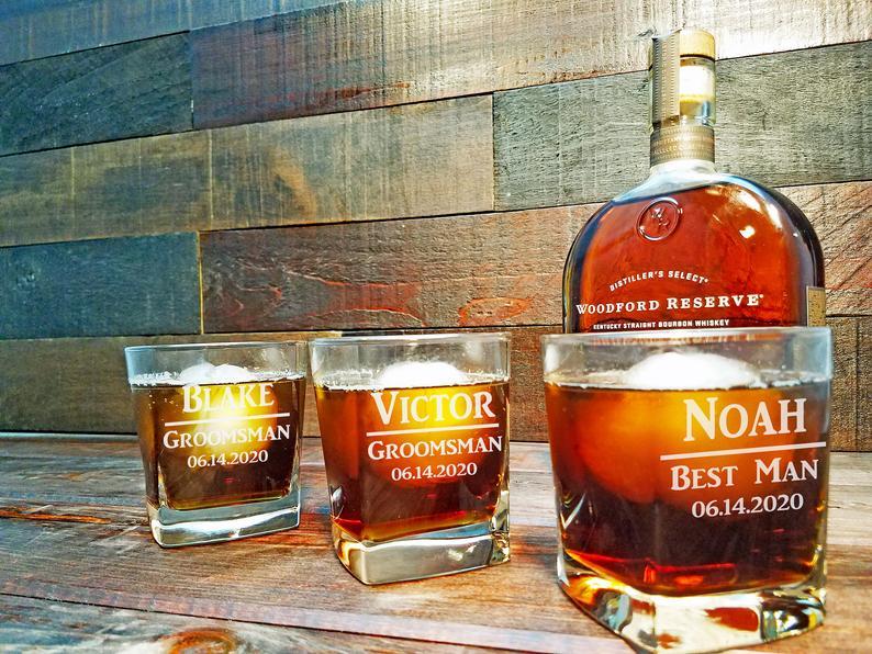Whiskey glasses for groomsmen gift personalized