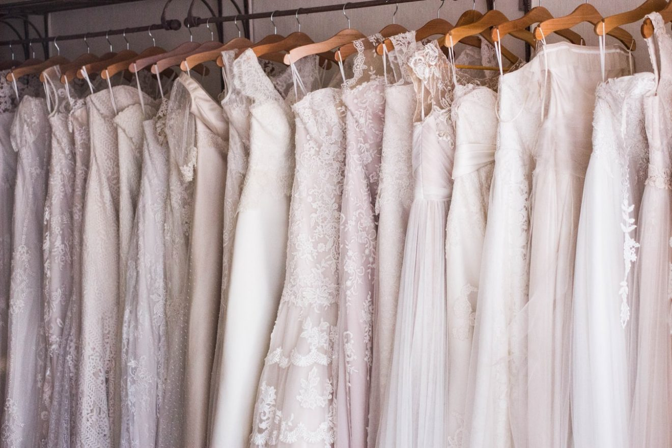 10 different wedding dress fabrics side by side