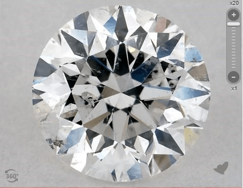 Round shape diamond with 20 times magnification