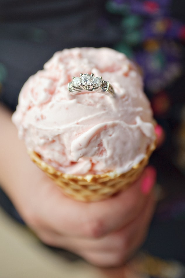 5 stone wedding ring on ice cream
