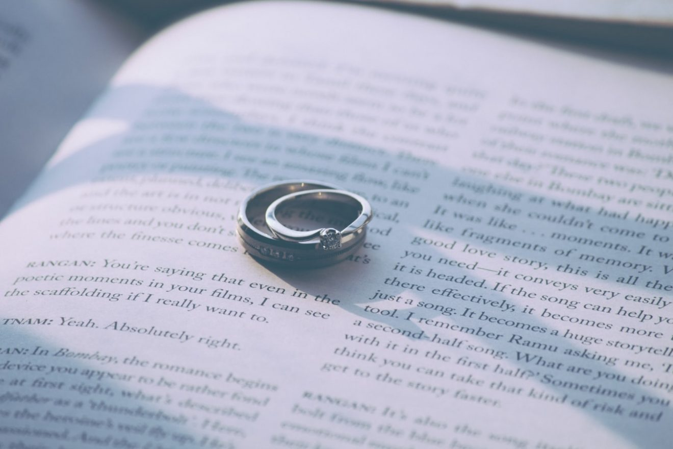 Sterling silver wedding rings on a open book page