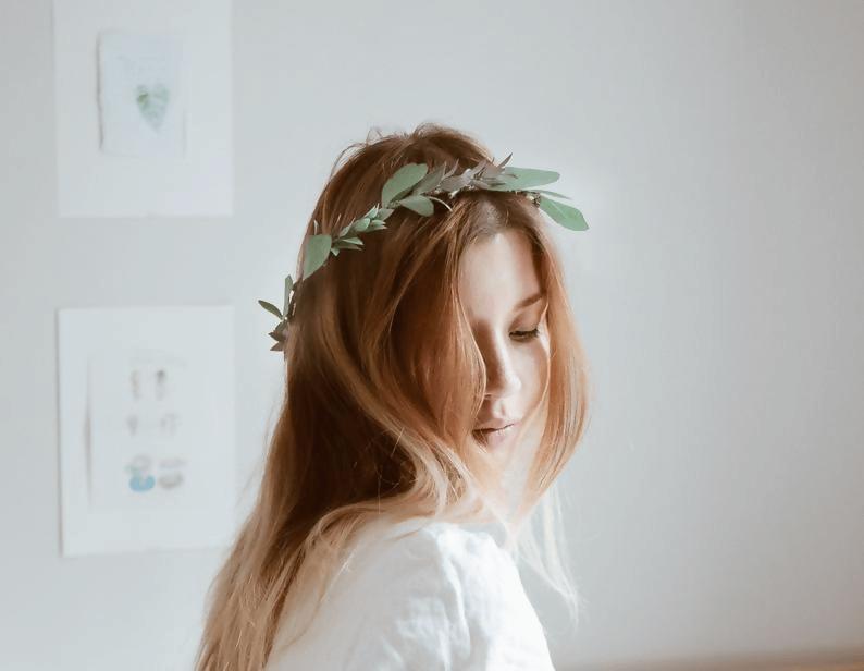 Boho Green Flower Crown