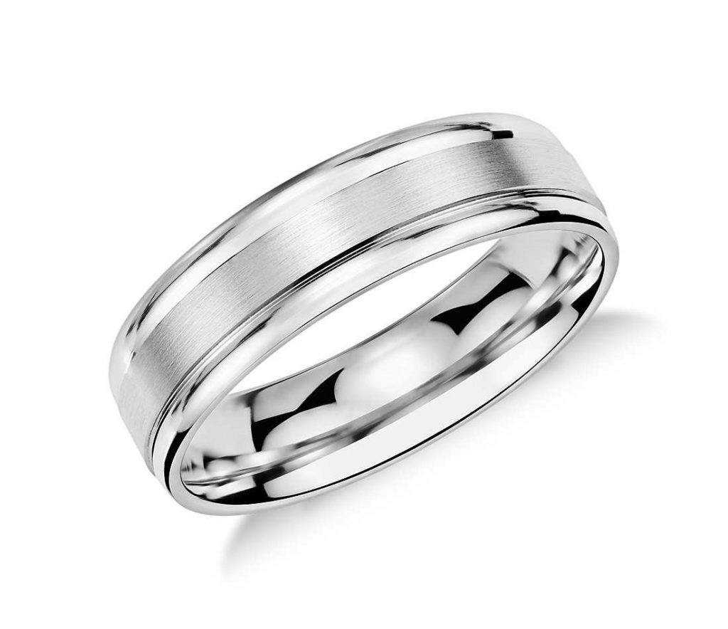 Platinum wedding band closeup