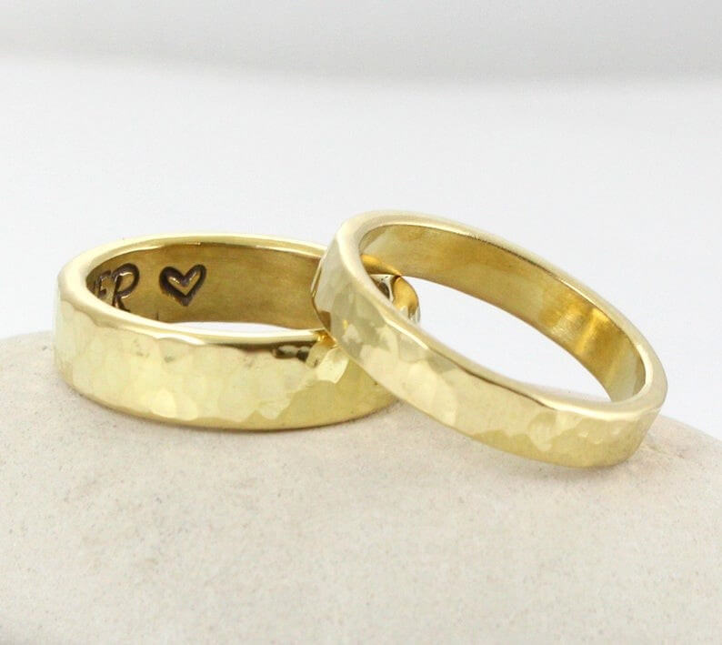 Yellow-gold brass wedding rings
