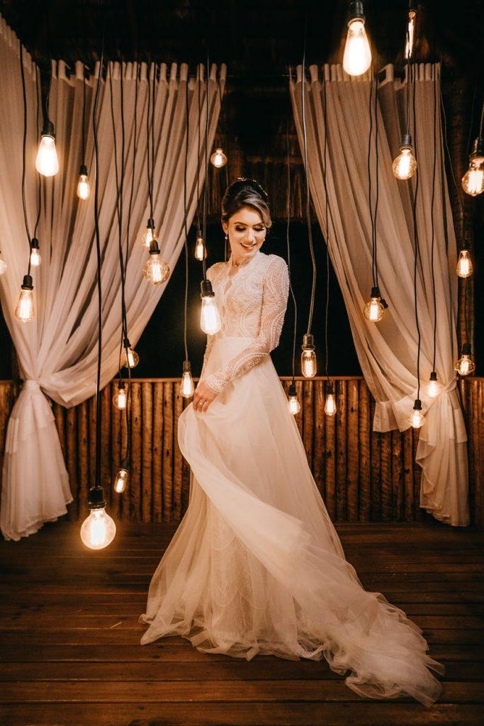 Bride wearing a-line dress