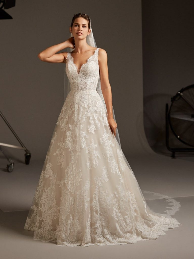 a-line white wedding dress worn by bride