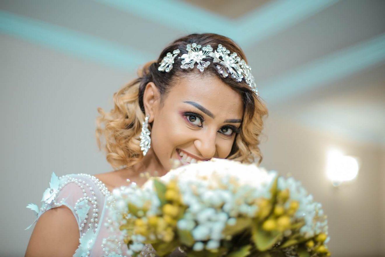 Bride wearing alternative bridal veil