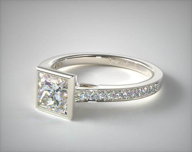 Bezel princess cut diamond ring in white gold