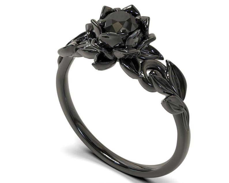Floral black gold black diamond engagement ring
