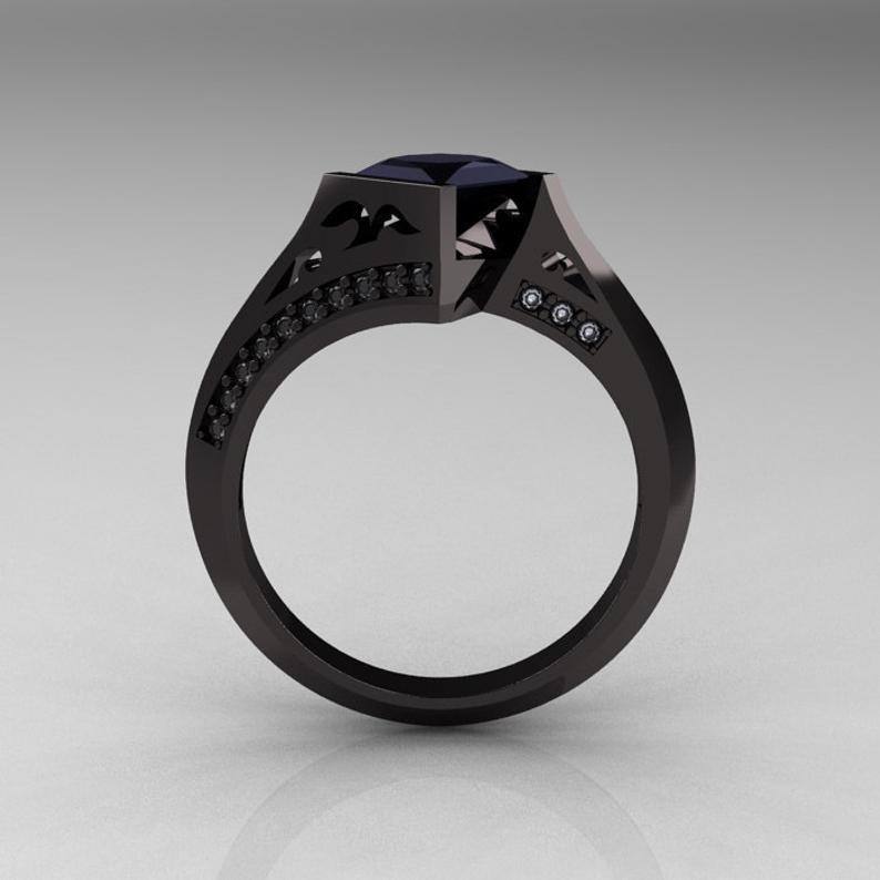 Black gold engagement ring