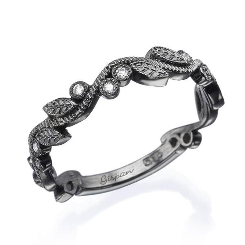 Black gold leaf wedding ring
