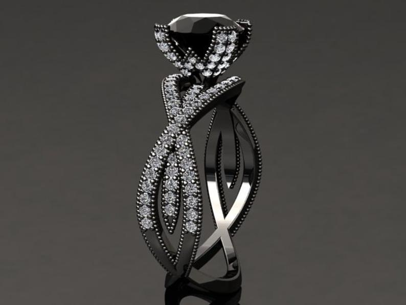Black gold ring with black diamond