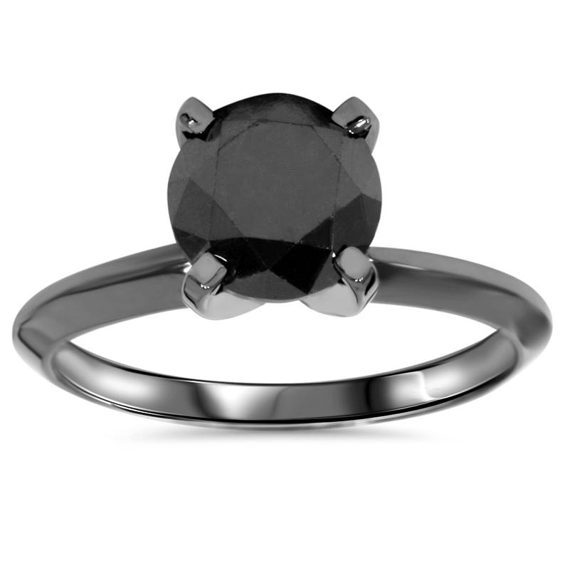 Black gold solitaire engagement ring