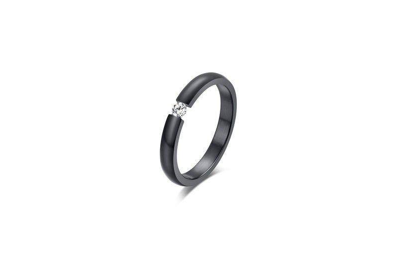 Black titanium with diamond ring