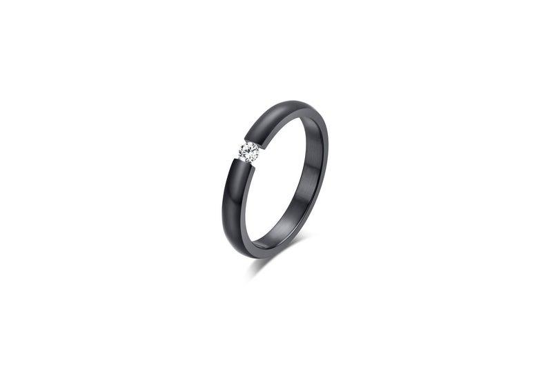 Black titanium with diamond ring
