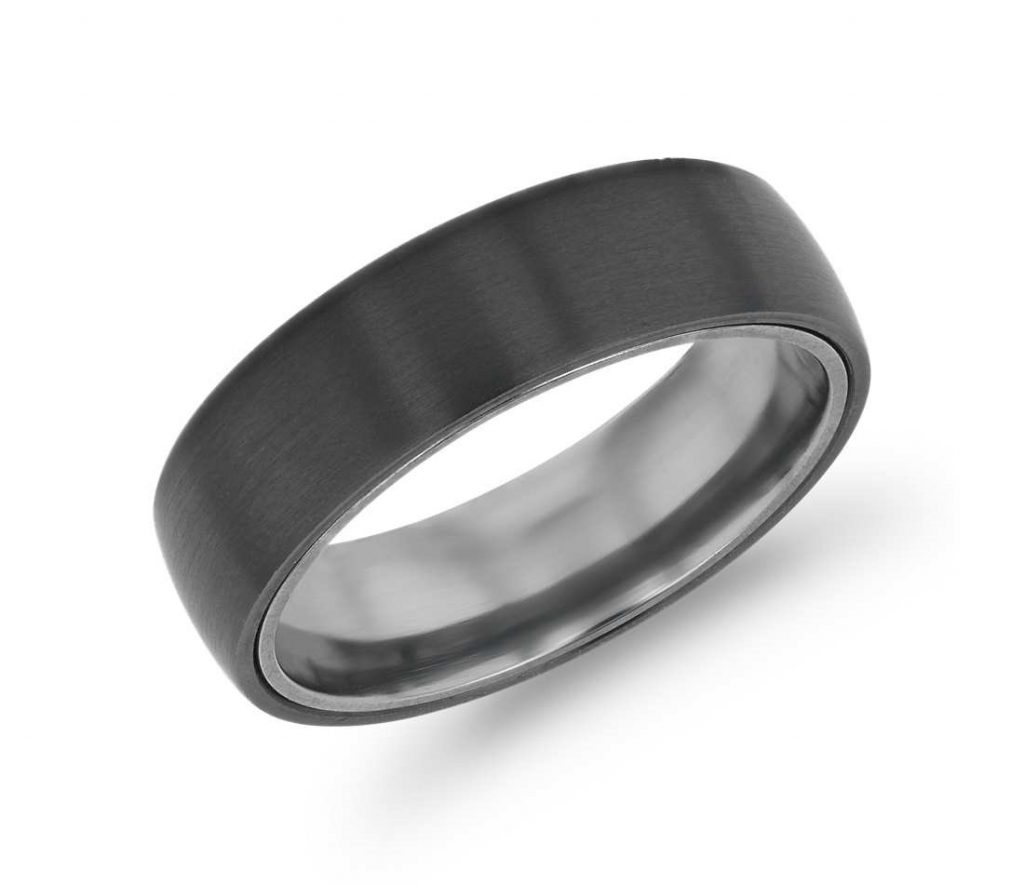 Black titanium wedding ring close up