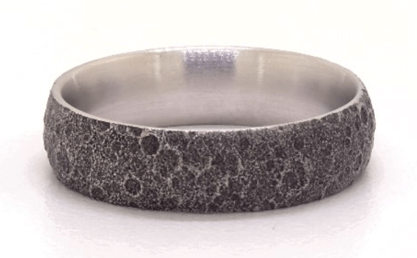 blackened moon finish platinum ring