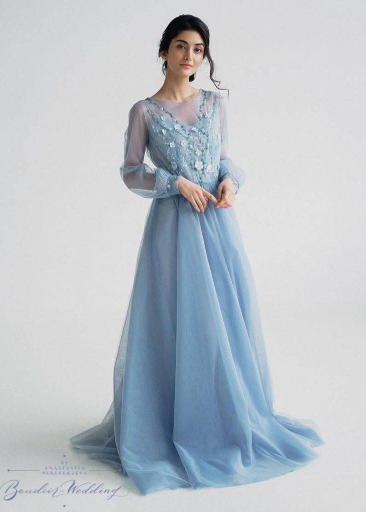 Blue boho wedding dress