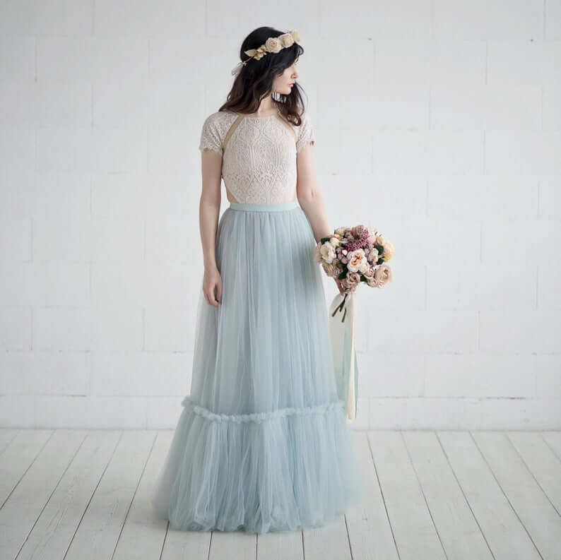 Bride wearing blue-tulle skirt separate