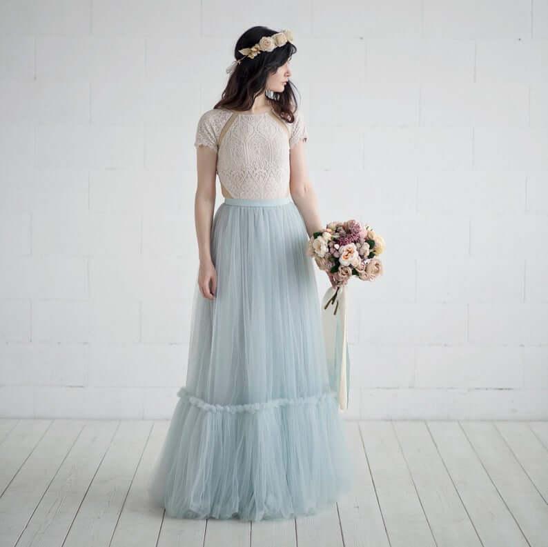 Bride wearing blue-tulle skirt separate