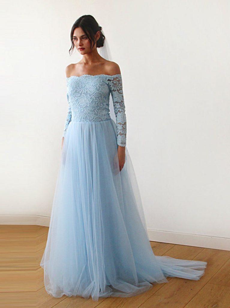 Bride wearing blue wedding dress